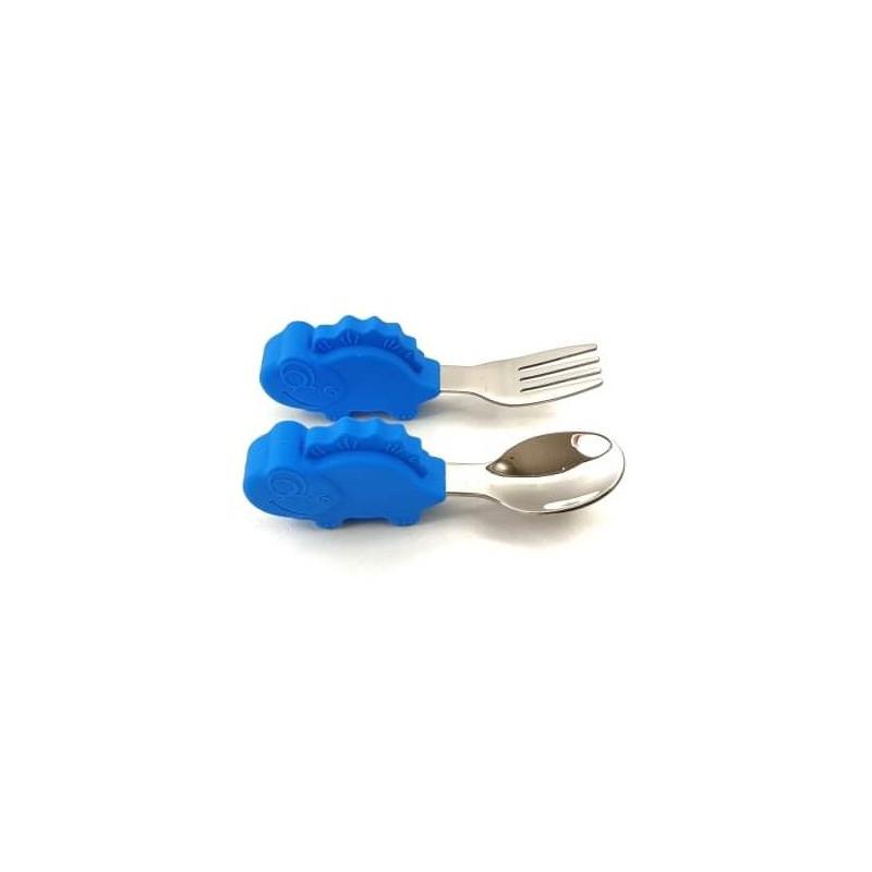 Rozsdamentes-szilikon evőeszköz készlet /kék dínós/