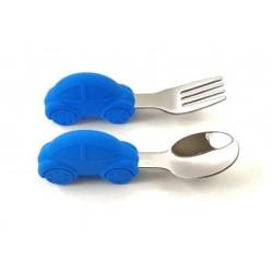 Rozsdamentes-szilikon evőeszköz készlet /kék autós/