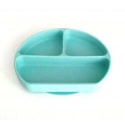 Osztott szilikon tányér tetővel /világos zöld/