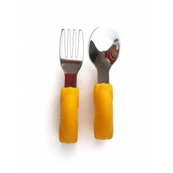 Rozsdamentes-szilikon evőeszköz készlet /sárga autó/