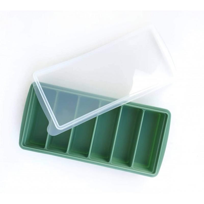 Szilikon jégkocka & püré tartó fedővel /zöld/