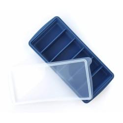 Szilikon jégkocka & püré tartó fedővel /kék/