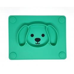 Kutyusos szilikon tányér /zöld/