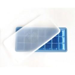 Szilikon jégkockatartó tetővel  /kék/