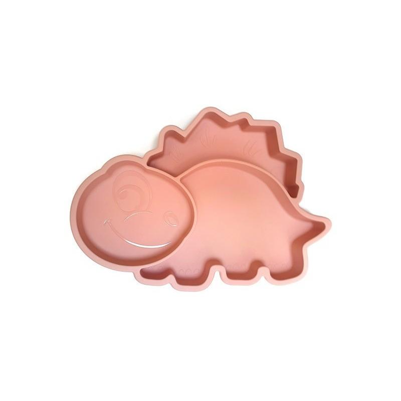 Dínós szilikon tányér /rózsaszín/
